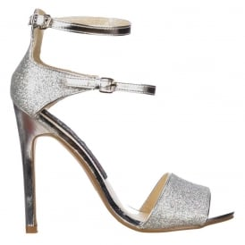 Peep Toe Mid Heels - High Back Strappy Sandals - Silver Glitter