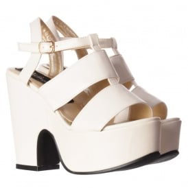 Peep Toe Platform Mid Heel Summer Sandal - Cut Out Sides - Black, White, Silver Hologram
