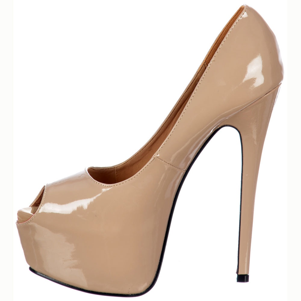 Onlineshoe Peep Toe Stiletto Concealed Platform High Heel Shoes ...
