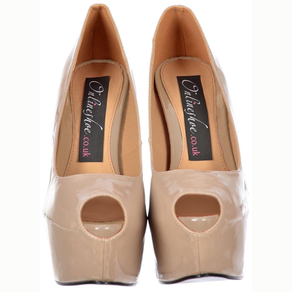 dc6d21bd44c Onlineshoe Peep Toe Stiletto Concealed Platform High Heel Shoes - Nude  Patent