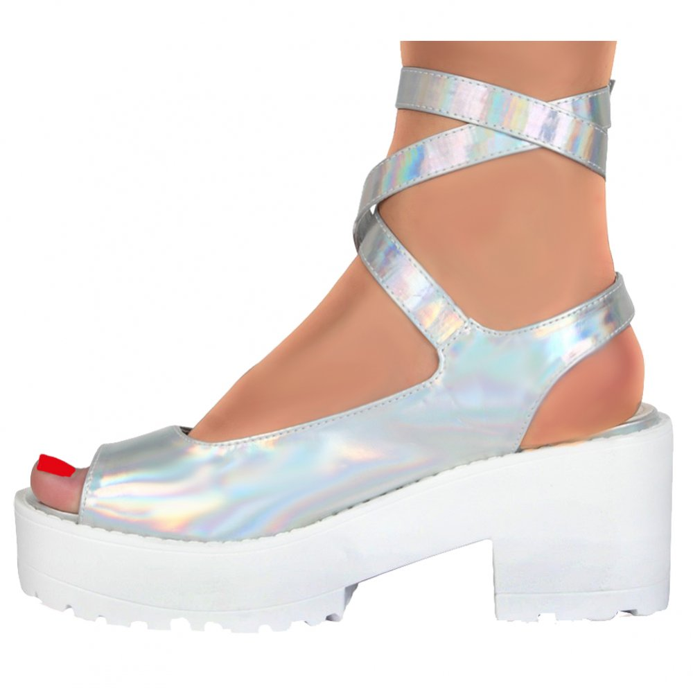 9aad2621c58380 Peep Toe Strappy Platform Summer Sandals - Chunky Cleated Sole Block Heel -  White