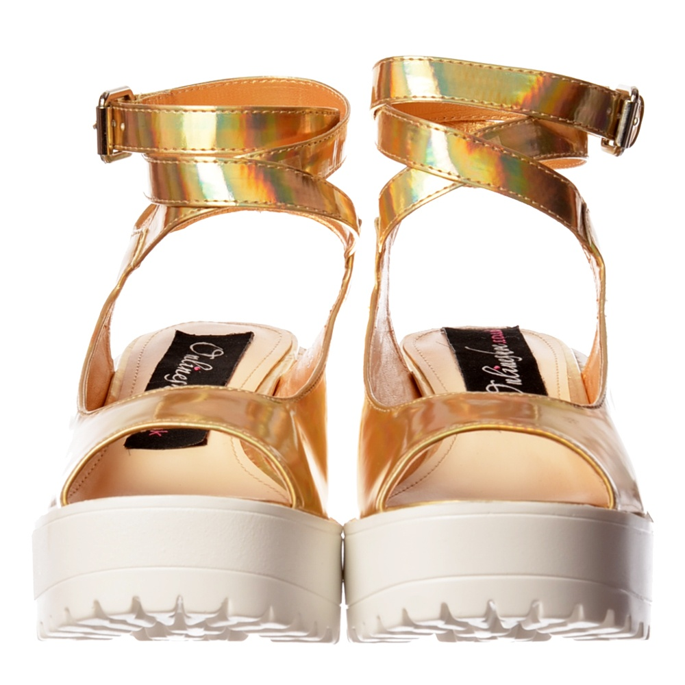 70e14e2e99ad Peep Toe Strappy Platform Summer Sandals - Chunky Cleated Sole Block Heel -  White