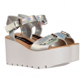 Peep Toe Summer Sandals - Chunky Wedge - White, Silver Hologram