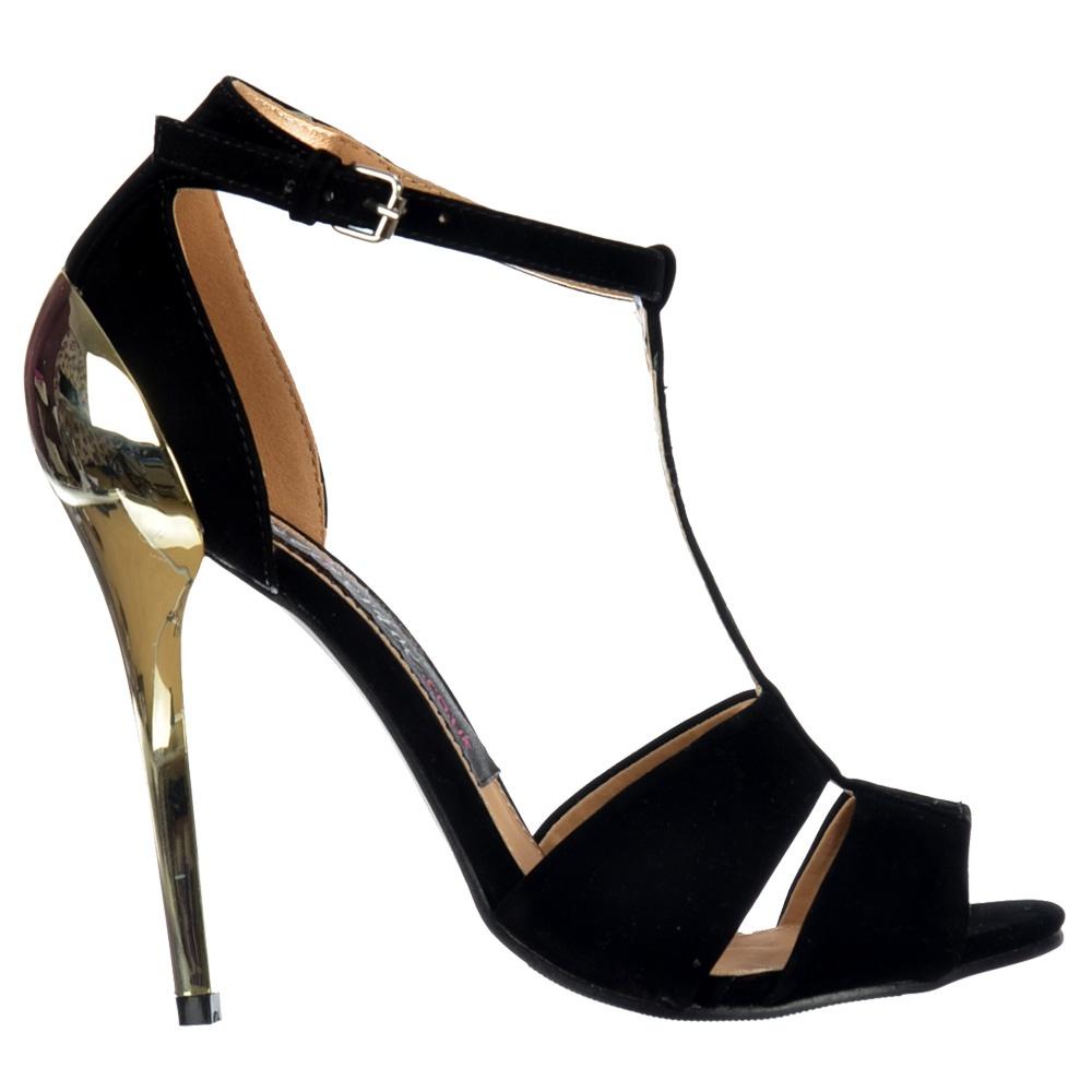 Onlineshoe Peep Toe T Bar Mid Heels - Gold Heel Strappy Sandals ...