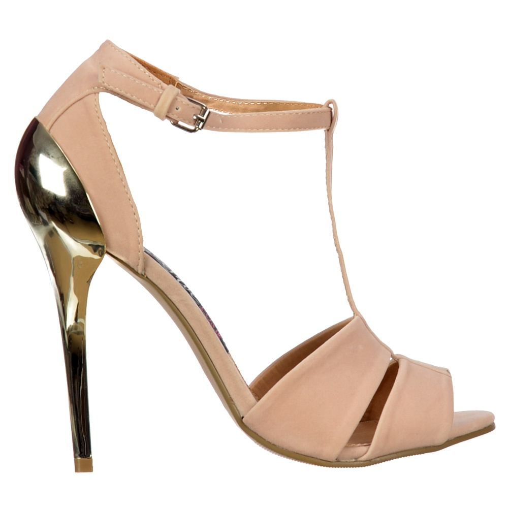 Onlineshoe Peep Toe T Bar Mid Heels - Gold Heel Strappy Sandals ...