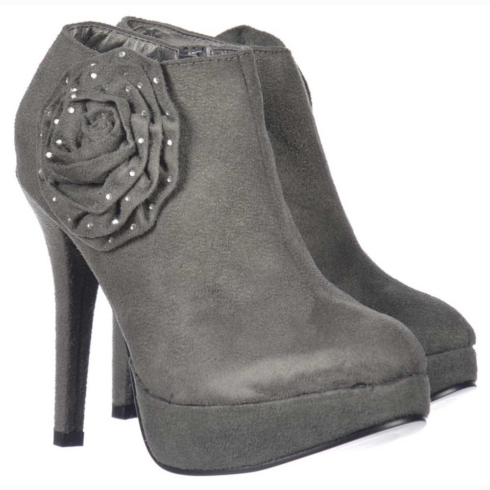 972395f505b Onlineshoe Platform Stiletto Ankle Boots - Diamante Flower - Grey ...