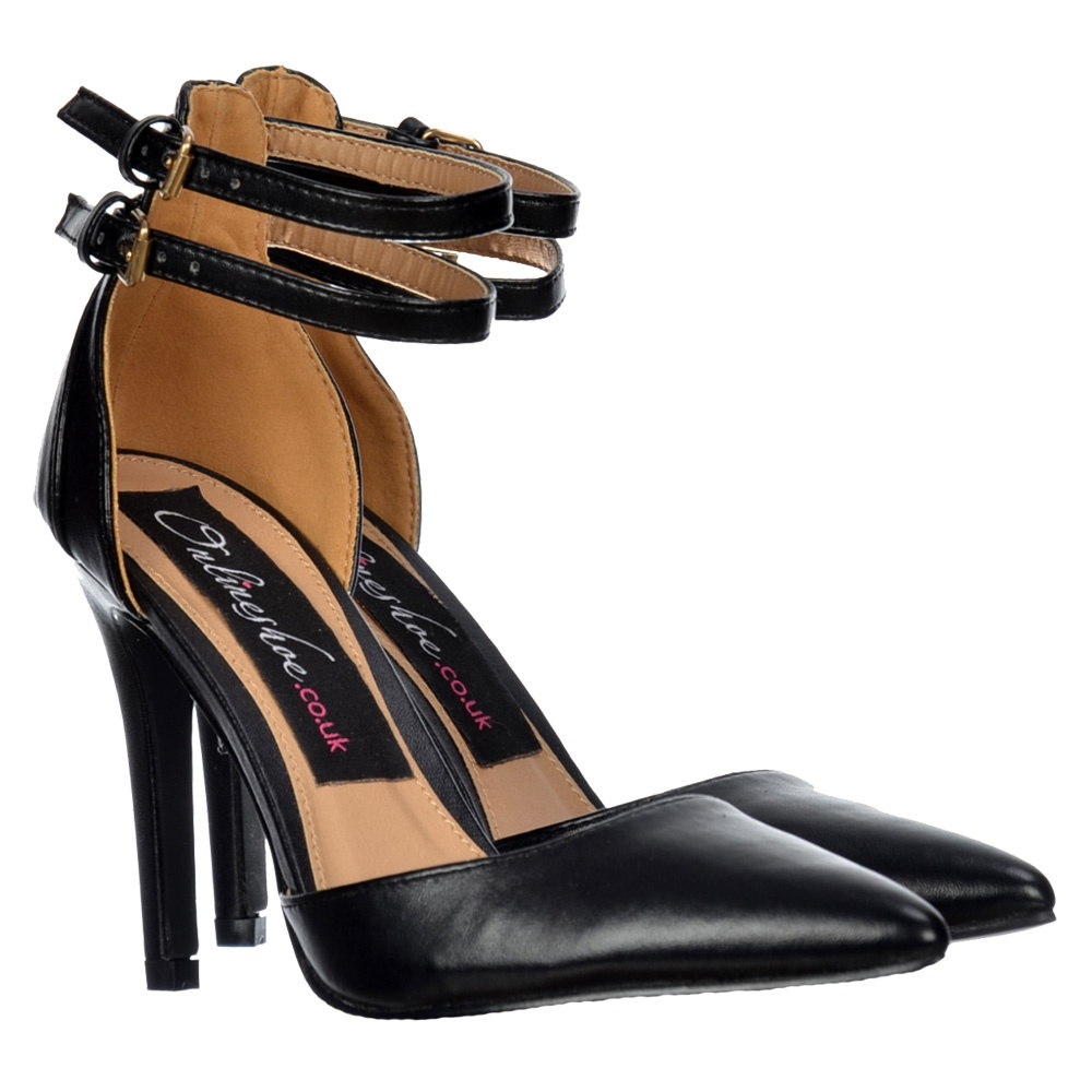 Onlineshoe Pointed Toe Mid Heels - High Back Strappy Stilettos ...