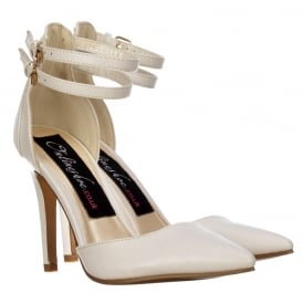 Pointed Toe Mid Heels - High Back Strappy Stilettos - White