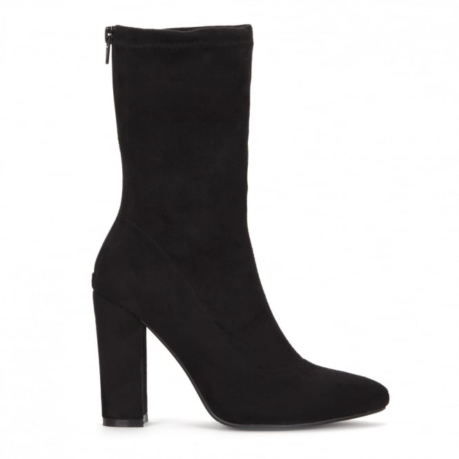 Onlineshoe Pointed Toe Sock Ankle Boot Block Heel