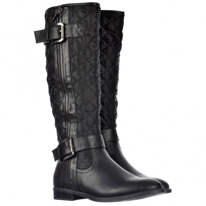 Onlineshoe Quilted Knee High Riding Boots With Buckle and Straps Feature - Black, Tan Brown