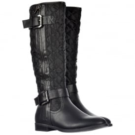 Quilted Knee High Riding Boots With Buckle and Straps Feature - Black, Tan Brown