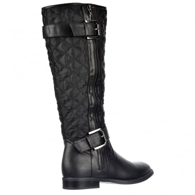 a442a1998a553 Quilted Knee High Riding Boots With Buckle and Straps Feature - Black, Tan  Brown