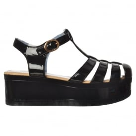Retro Jelly Gladiator Sandals - Chunky Platform Wedge - Black, White, Clear Glitter
