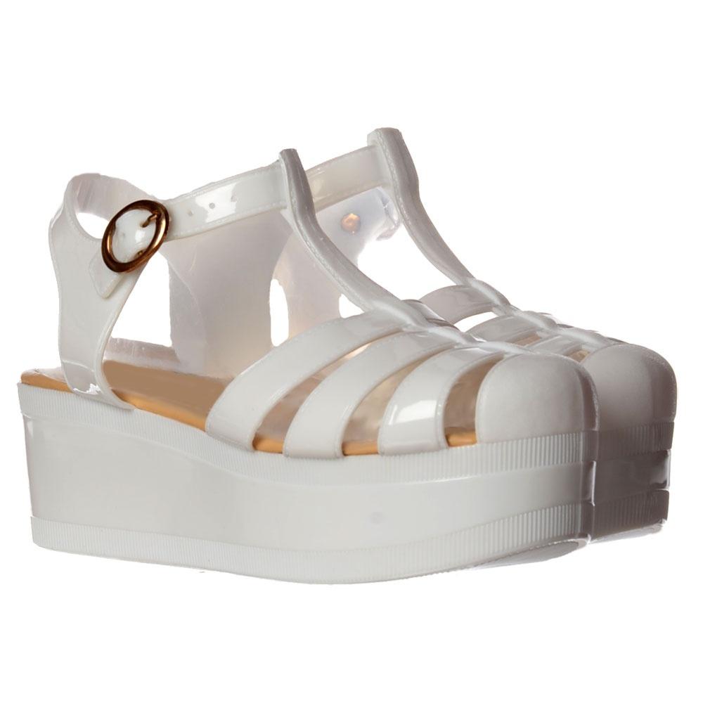 Onlineshoe Retro Jelly Gladiator Sandals - Chunky Platform Wedge ...