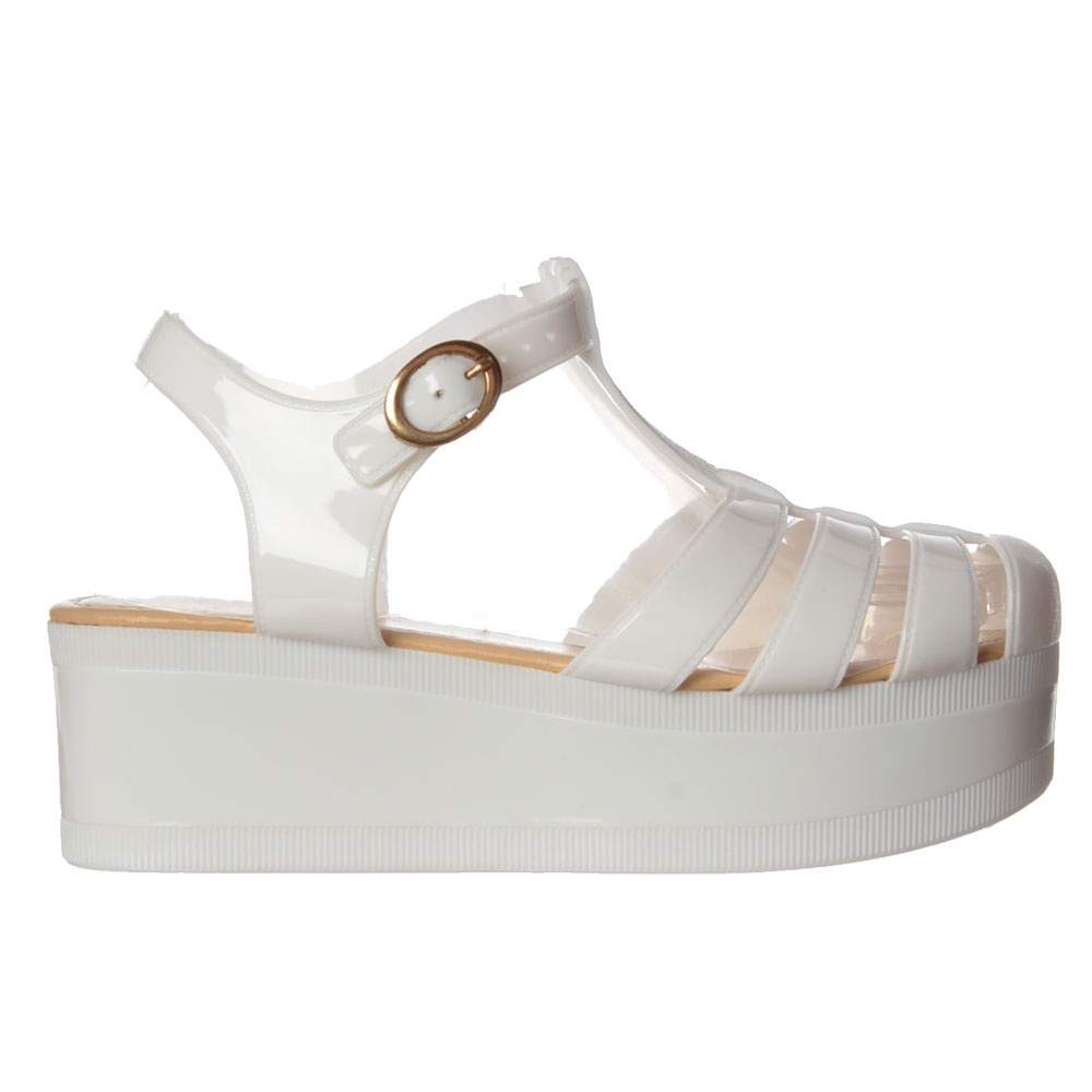375145aede33 Onlineshoe Retro Jelly Gladiator Sandals - Chunky Platform Wedge ...