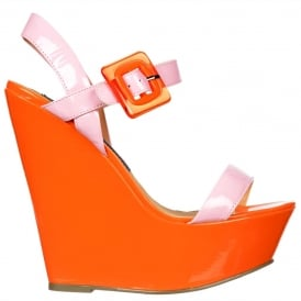 Retro Style Wedge - Square Buckled Sandal - Pink Pastel and Orange