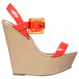 Retro Style Wedge - Square Buckled Sandal - Raspberry & Nude