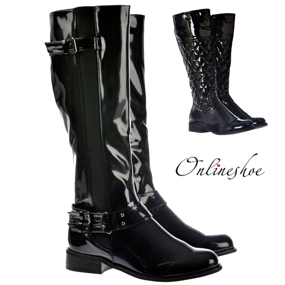80e44feada4 Riding Boots - With Buckle And Elasticated Feature - Black Patent
