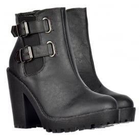 Rihanna Classic Chelsea Boot - With Heel and Double Buckle - Black