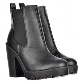 Rihanna Classic Chelsea Boot - With Heel and Elasticated Sides - Black