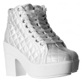 Rihanna Lace Up Platform High Wedge Ankle Boot Pumps - Black, White