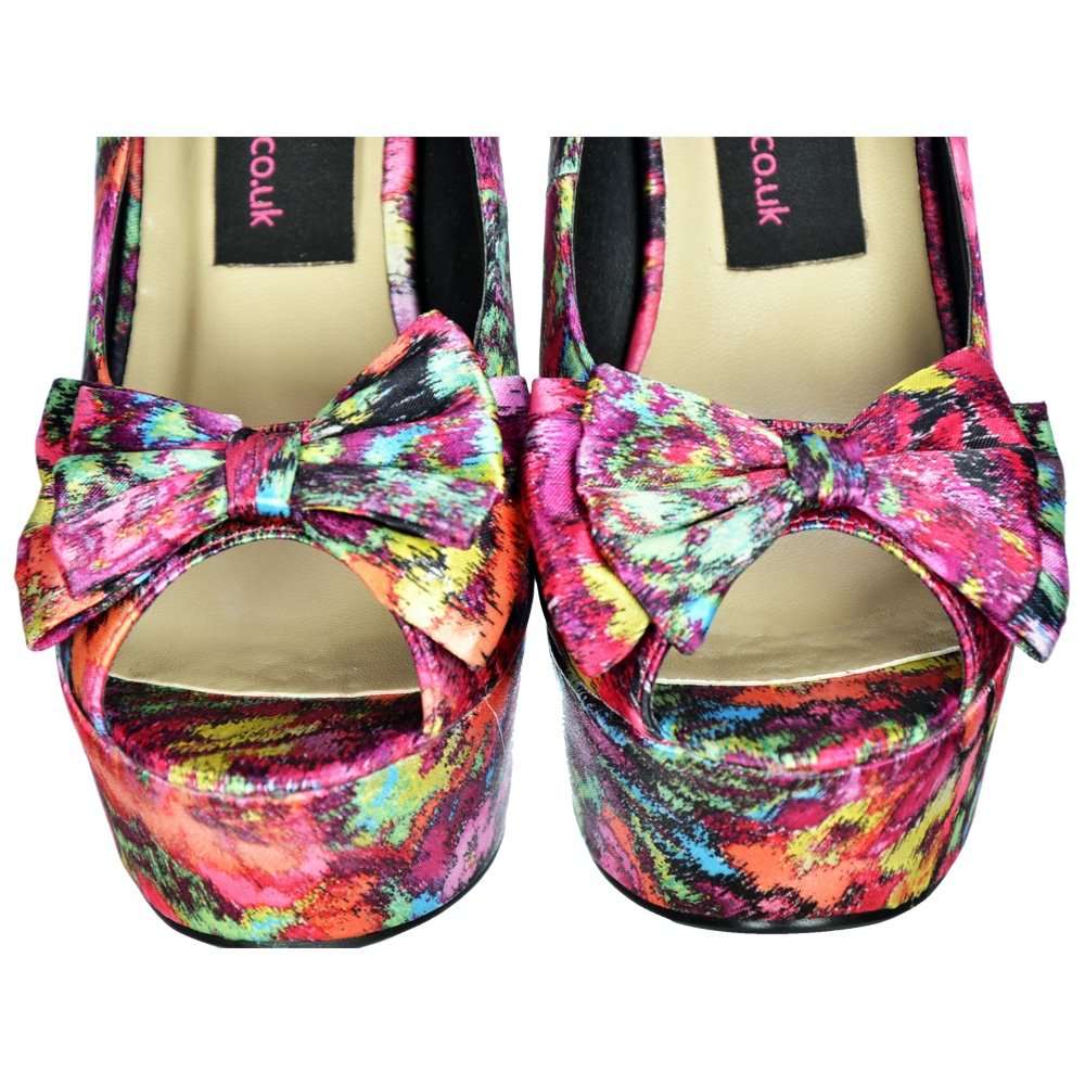 3ab95c02b97d Onlineshoe Satin Wedge Peep Toe Platform Shoes - Bow and Ankle Strap ...