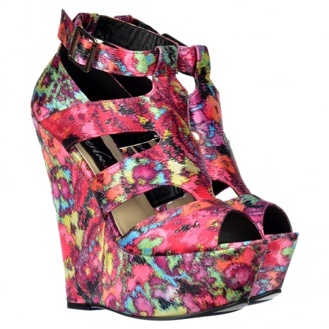 Onlineshoe Satin Wedge Peep Toe Platform Shoes - Strappy Sandals - Floral Multi