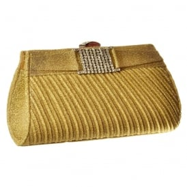 Shiny Glitter Evening Clutch Handbag Purse - Diamante Detail - Gold Glitter, Silver Glitter