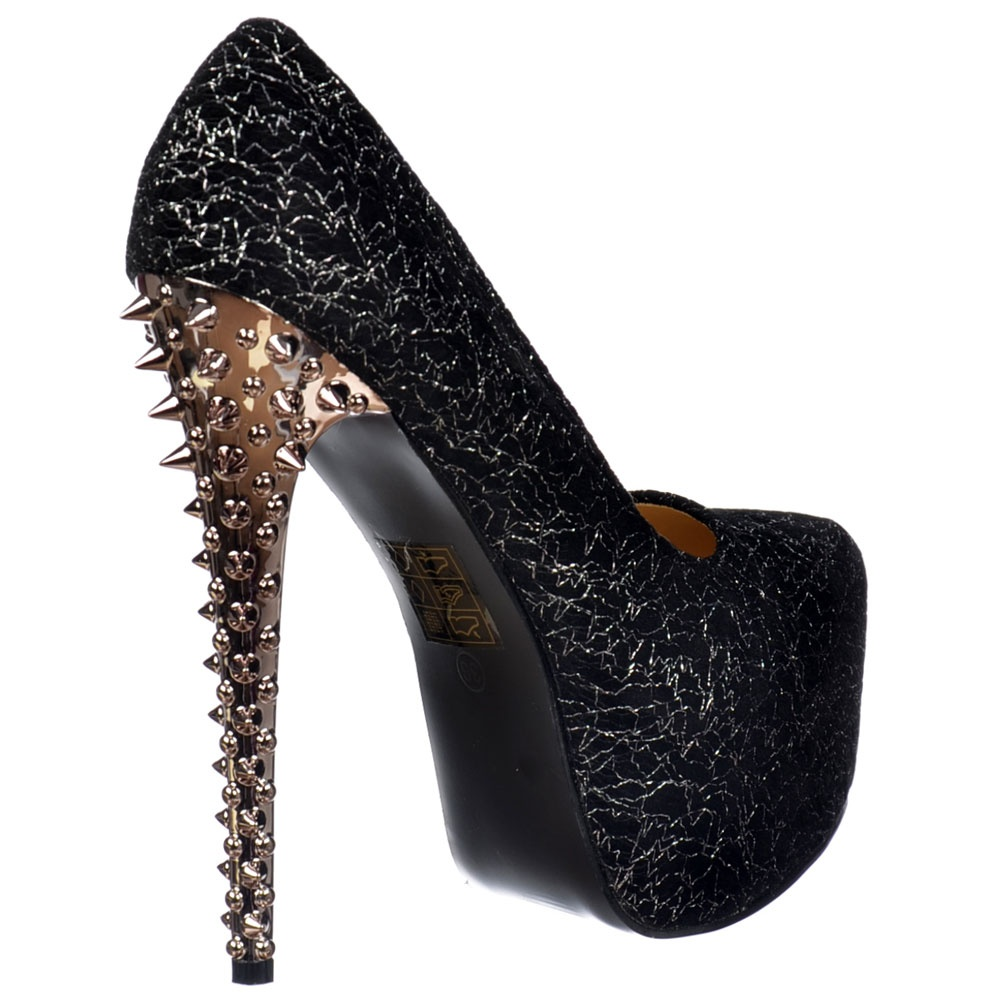 Onlineshoe Silver Chrome Spiked Studded
