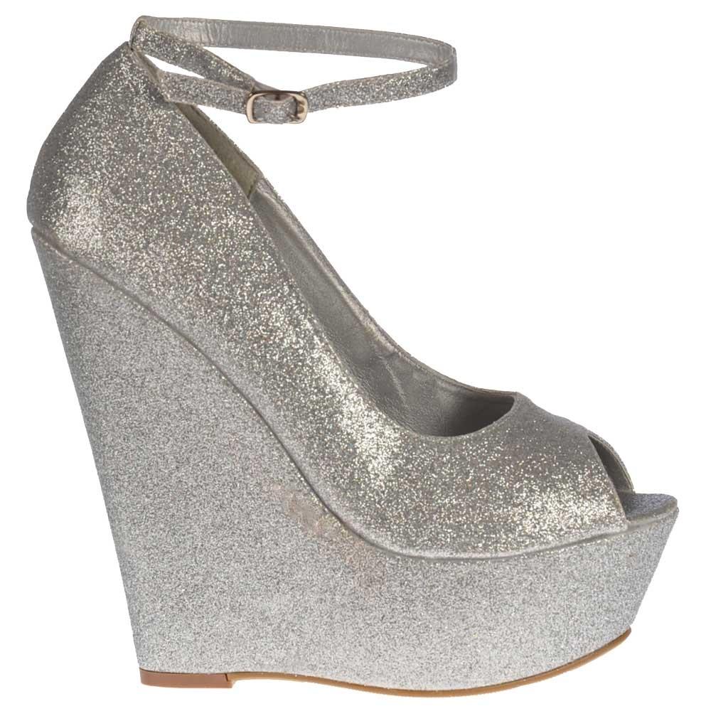 2e949cdfc4fc Onlineshoe Silver Glitter Wedge Peep Toe Platform Shoes Ankle Strap ...