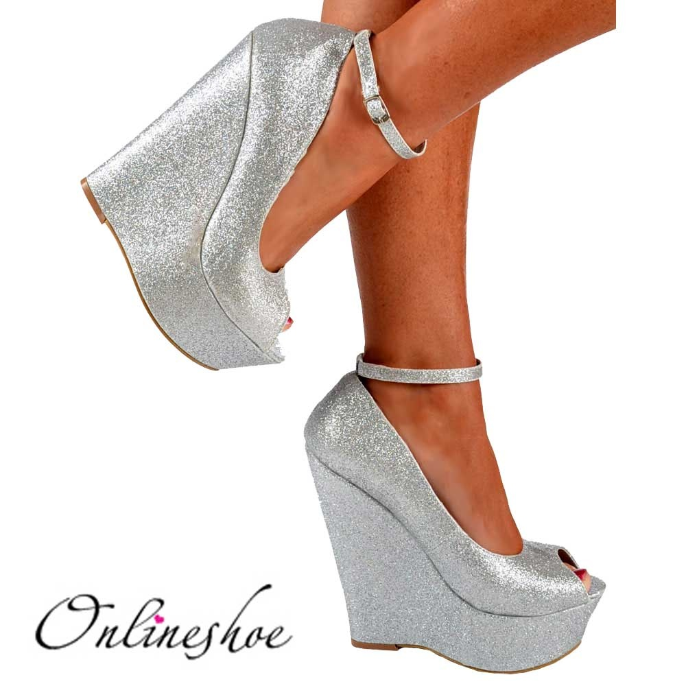 10c4a6c73939 Onlineshoe Silver Glitter Wedge Peep Toe Platform Shoes Ankle .