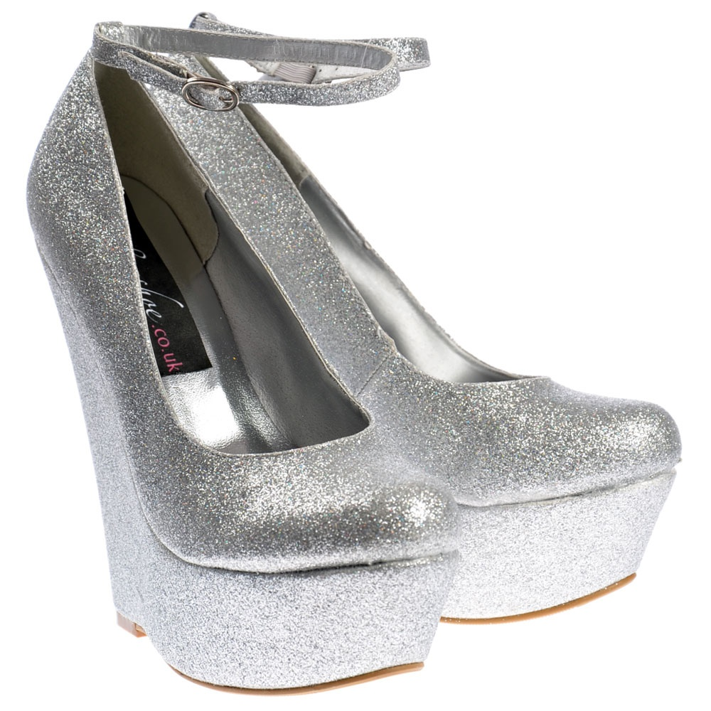 aebfc1b6f8fd Onlineshoe Silver Glitter Wedge Platform Shoes Ankle Strap - Silver ...