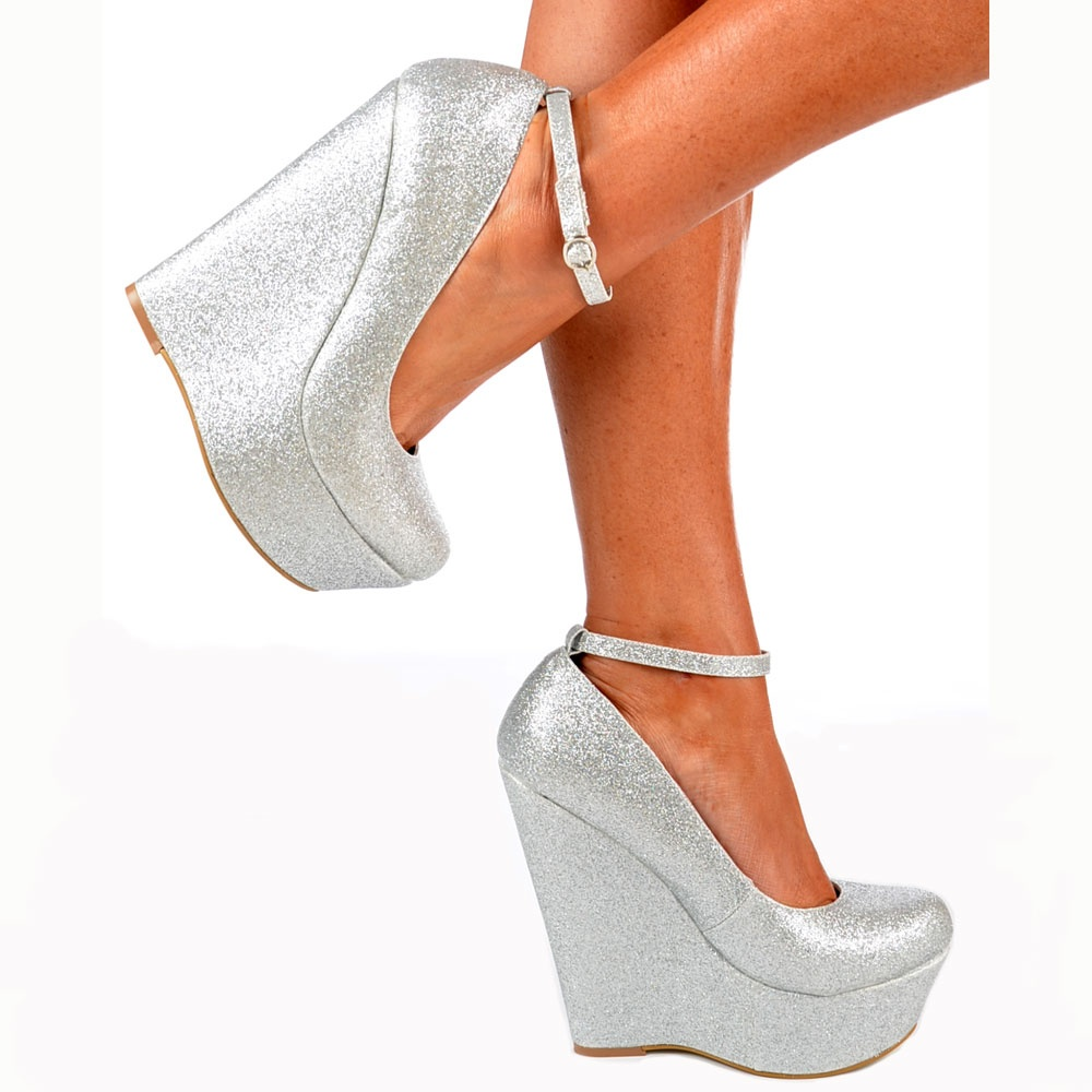 63e4998d717 Onlineshoe Silver Glitter Wedge Platform Shoes Ankle Strap - Silver ...