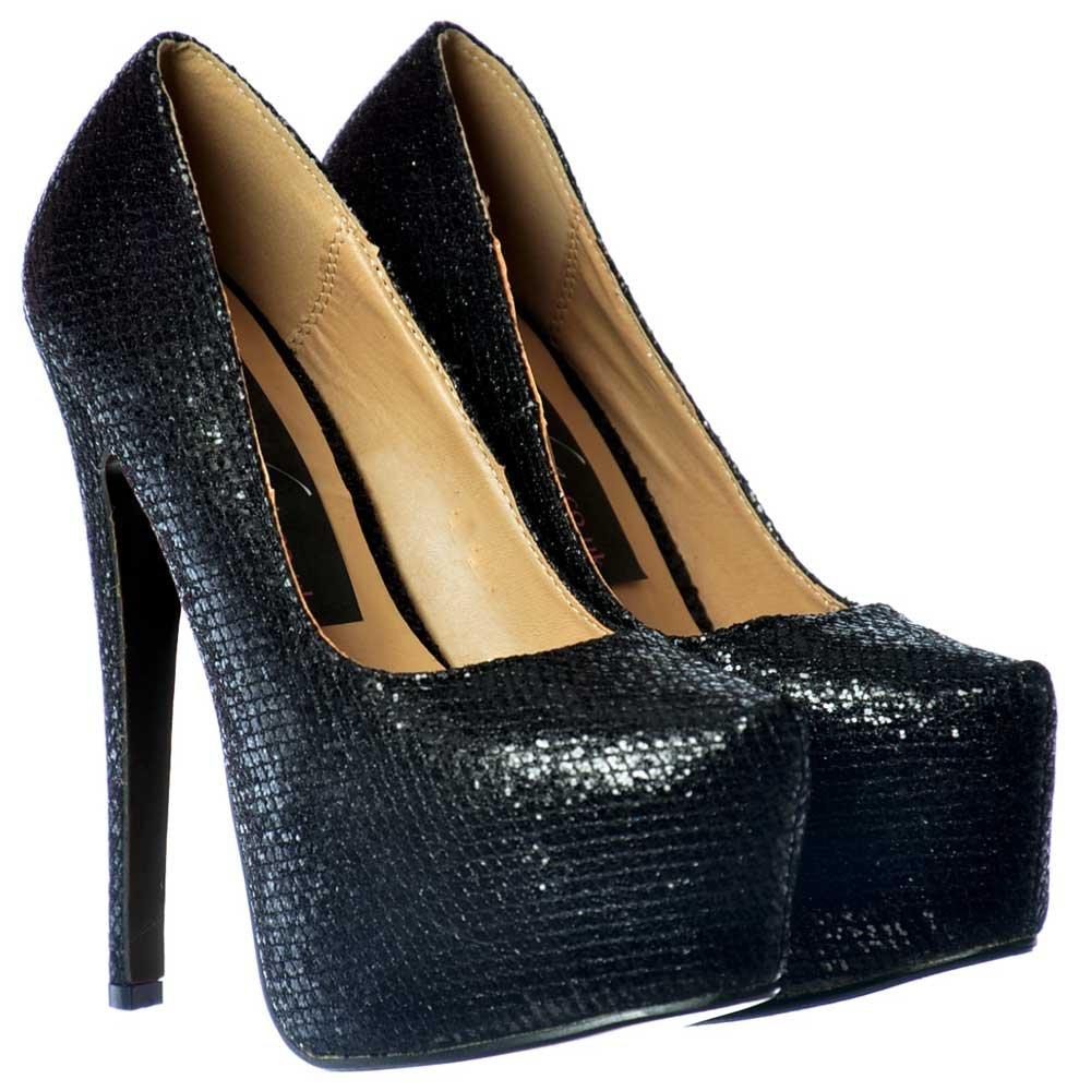 black glitter high heel shoes
