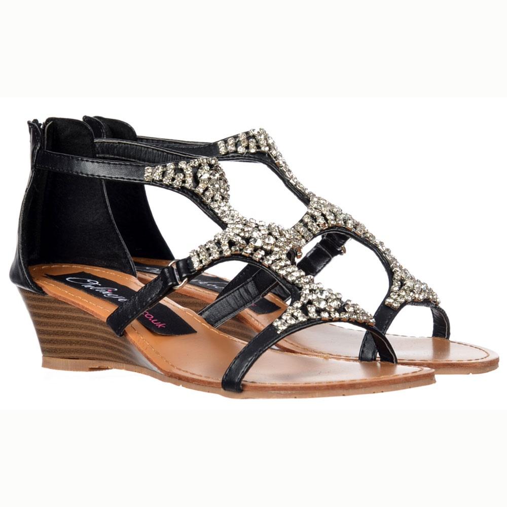 7c3c4d13f812f Onlineshoe Sparkly Diamante Jewelled Dress Summer Sandals - Black Diamante