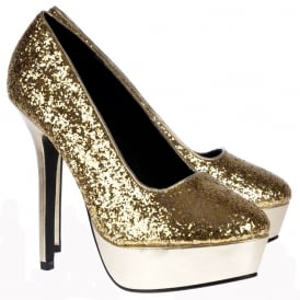 Sparkly Glitter Platform Party High Heels - Gold Glitter Metallic