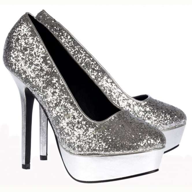Onlineshoe Sparkly Glitter Platform Party High Heels - Silver Glitter Metallic