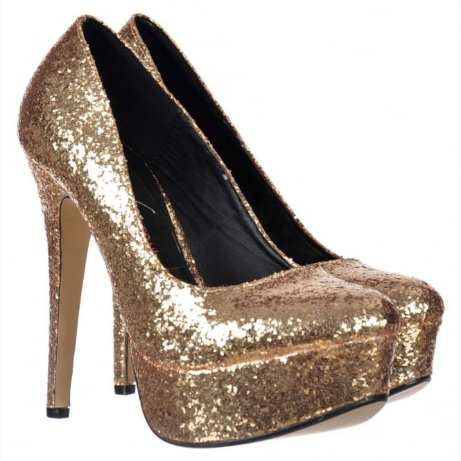 Onlineshoe Sparkly Glitter Platform Stiletto Heels - Party Shoes - Gold Glitter