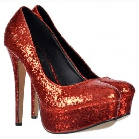 Sparkly Glitter Platform Stiletto Heels - Party Shoes - Red Glitter