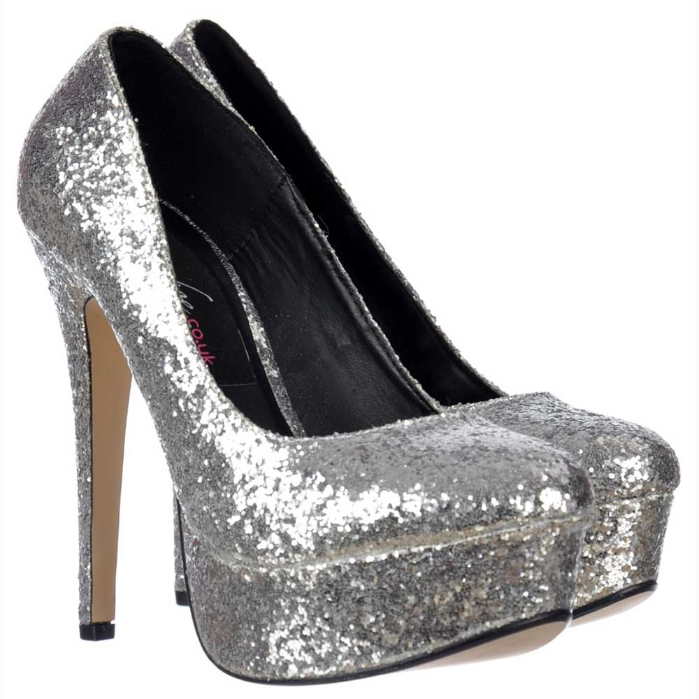Onlineshoe Sparkly Glitter Platform Stiletto Heels Party