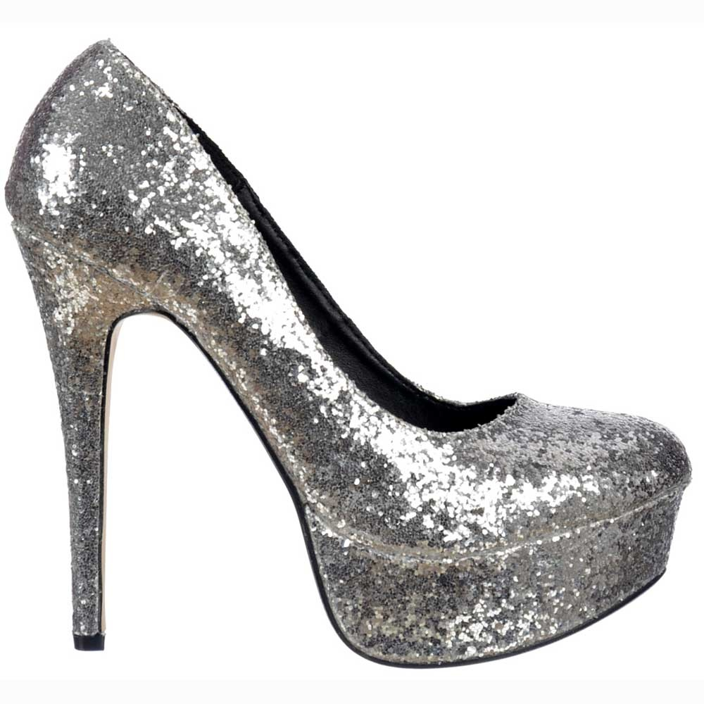 Sparkly Glitter Platform Stiletto Heels - Party Shoes - Silver Glitter 747eb5241