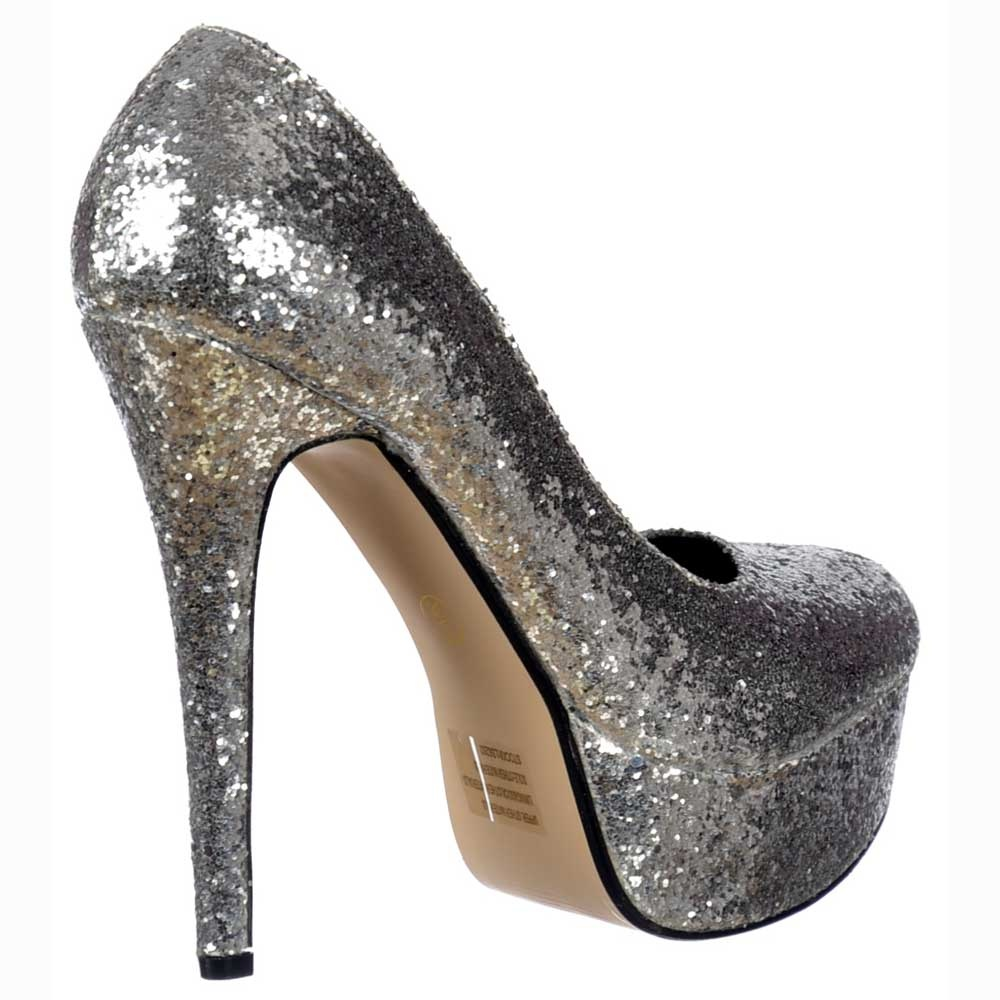 062234558d64 Sparkly Glitter Platform Stiletto Heels - Party Shoes - Silver Glitter