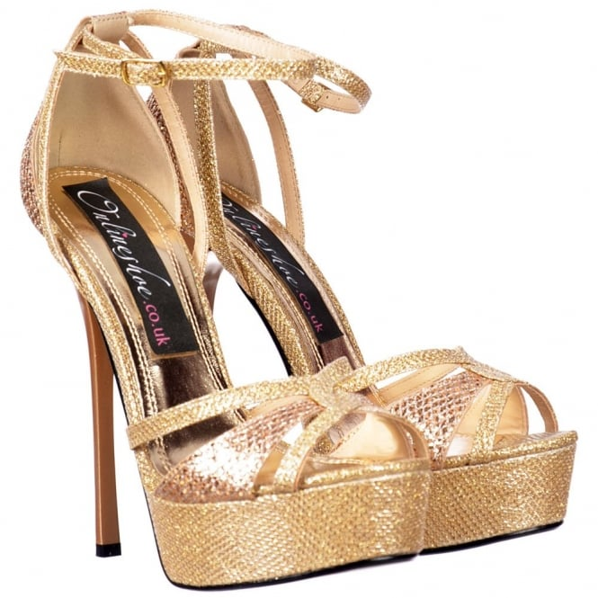 Onlineshoe Sparkly Glitter Strappy Peep Toe Stiletto Heel - Cross Over Toe - Gold Glitter