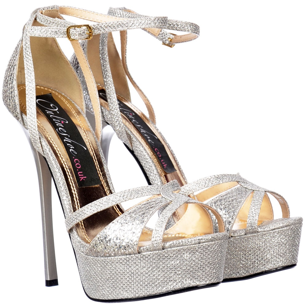 237b490dad27 Sparkly Glitter Strappy Peep Toe Stiletto Heel - Cross Over Toe - Silver  Glitter