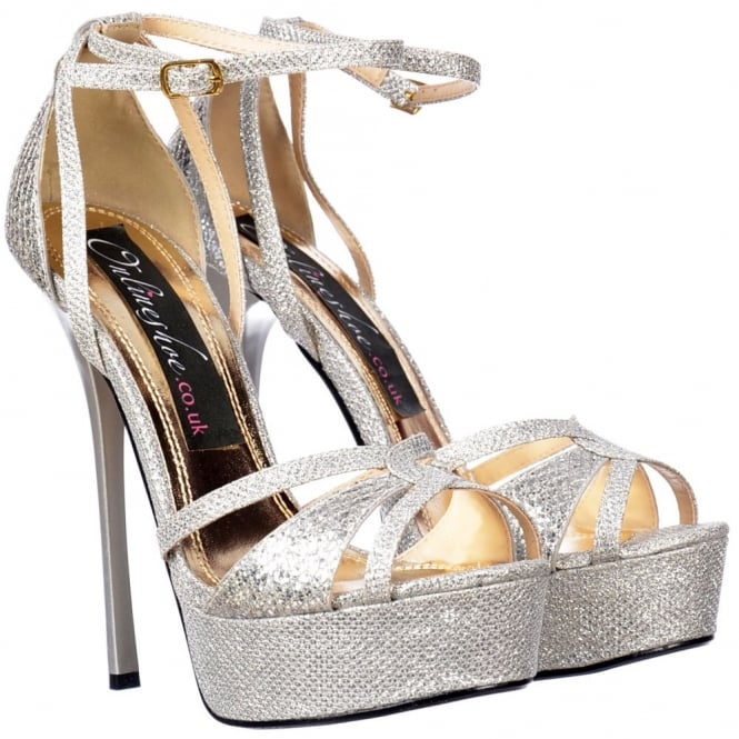 Onlineshoe Sparkly Glitter Strappy Peep Toe Stiletto Heel - Cross Over Toe - Silver Glitter