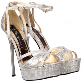 Sparkly Glitter Strappy Peep Toe Stiletto Heel - Cross Over Toe - Silver Glitter