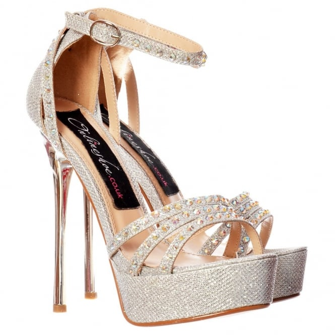 Onlineshoe Sparkly Glitter Strappy Stiletto Metallic Heel - Cross Over Crystal Encrusted - Gold, Silver, Black