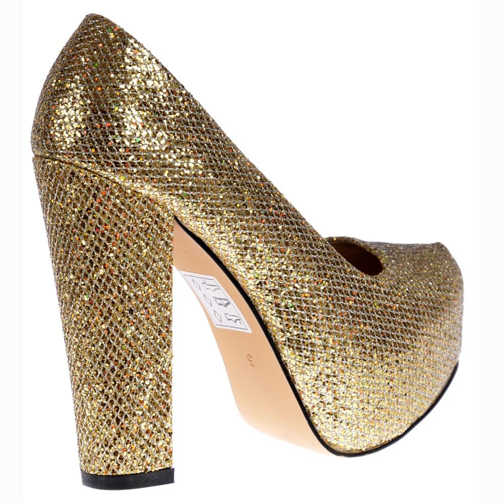 Onlineshoe Sparkly Gold Block Heel Concealed Platform Shoes - Gold ...