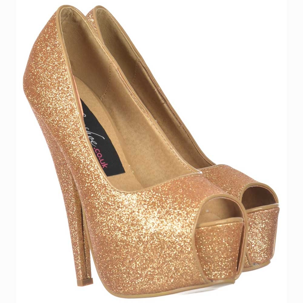 534499842a43 Sparkly Gold Glitter Peep Toe Stiletto Concealed Platform High Heel Shoes -  Gold