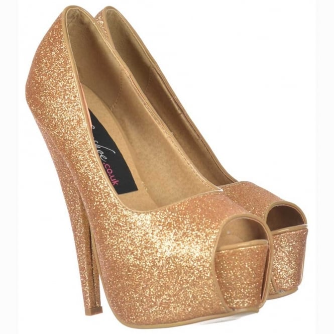 Onlineshoe Sparkly Gold Glitter Peep Toe Stiletto Concealed Platform High Heel Shoes - Gold